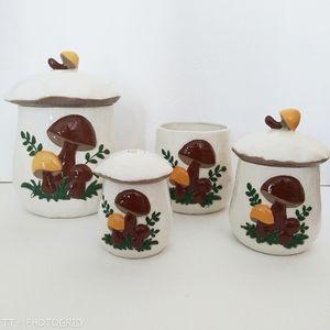 Vintage handmade 3D mushroom canister set